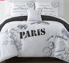 KING SIZE PARIS EIFFEL TOWER WHITE BLACK  COMPLETE 8PC SET comforter sheets sham