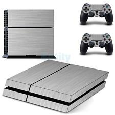 Silver Decal Skin Sticker Cover Kit For PS4 Playstation 4 Console Controller