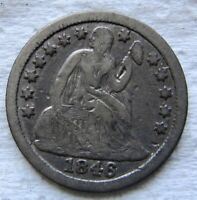 1846 Seated Liberty Dime Very Rare Date Mintage 31,300 Full Liberty      LQQK