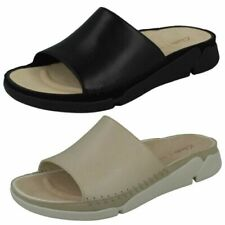 Ladies Clarks Casual Open Toe Slip On Leather & Textile Sliders Tri Slide