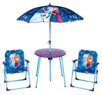 Kids Disney Frozen Garden Picnic Chair Table & Parasol Sun Shade Umbrella Set