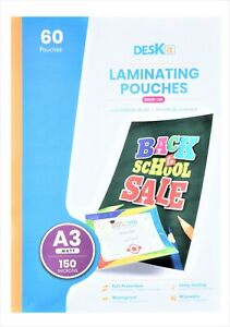 Deskit A3 Laminating Pouches – Matt – 60 Sheets – 150 Microns
