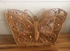 Wicker Pier One Magazine Rack Butterfly Storage Basket Free Standing