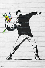 (LAMINATED) BANKSY FLOWER BOMBER POSTER (61x91cm)  PICTURE PRINT NEW ART
