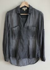 690583990f7 Anthropologie Cloth   Stone Gray Chambray Oversized Popover Tencel Size XS