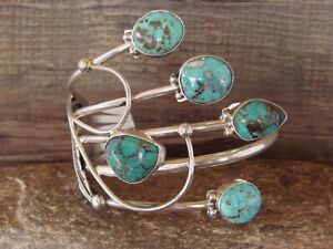 Navajo Indian Jewelry Sterling Silver Multi Stone Turquoise Bracelet