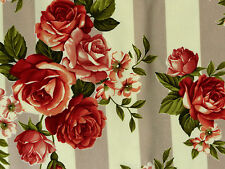 Biedermeier Rosenstoffe Stoffe Rosen Streifen grau creme rot burgunder 30x1,12