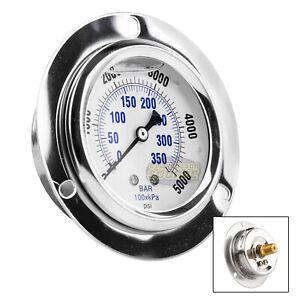 """2.5"""" Liquid Filled Pressure Gauge 0-5,000 PSI 1/4"""" NPT CBM Panel Flush Mount"""