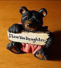I Love You Daughter Pink Dress Black Bear Lodge Cabin Figurine Home Decor New