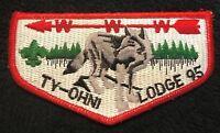 MERGED OA TY-OHNI LODGE 95 OTETIANA COUNCIL NY PATCH GRAY WOLF BSA SERVICE FLAP