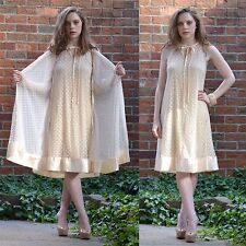 VTG 60s Tempo Sheer POLKA DOT Lace Wedding DRESS Peignor Set LINGERIE Nightgown