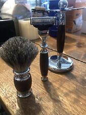 Razor Set, Brown, Badger Shaving Brush, Brand New