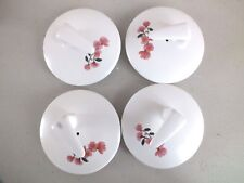 4 JAPANESE PINK FLORA CHERRY BLOSSOM WHITE TEAPOT 7cm LID COVER CHINESE PARTY DD
