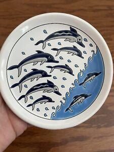"MANOUSAKIS Keramik Rodos Greece Hanging Plate 4.75"" Dolphins Blue"