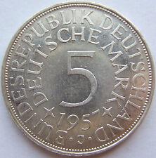 ERSTABSCHLAG! 5 DM 1957 J in fast STEMPELGLANZ SELTEN !!!