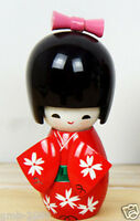 Lovely Cute Japanese Red Girl Design Creative Kokeshi Wooden Doll 9cm