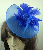 royal blue feather fascinator millinery burlesque wedding hat bridal race ascot