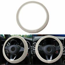 37-39cm 3D Sandwich Car Steering Wheel Cover Anti-slip Breathable Grip Beige US