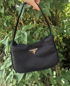 Cute Y2k Mini Shoulder Bag Black Nylon Baguette Vintage Style Hobo Dupe