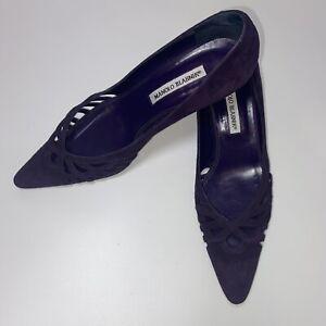 Manolo Blahnik Purple Suede Kitten Heel Pumps Cut Outs Pointy Toe EUR39/ US9