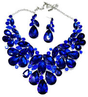 Rhinestone Necklace Earring Set Blue Crystal