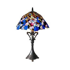 "Handcrafted Iris Floral Tiffany Style Stained Glass Table Lamp 26 Tall 19"" Shade"
