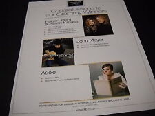 Robert Plant & Alison Krauss John Mayer and Adele 2009 Promo Display Ad Congrats