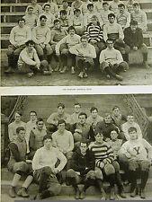 Harvard & Yale FOOTBALL Teams SPRINGFIELD MEET 1891 Antique Print Matted