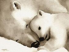 Polar Bear Art Print Sepia Watercolor Painting by Artist Djr