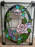 Stained Glass Suncatcher, Window Hanging ,Flower, Rose ,Pink Stained Glass Panel