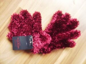 @MaxiMo@ Gloves Plush Shaggy Wine Red Gr. 3-4 Age 4 - 7 New