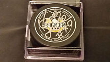 Pierre Larouche signed Pittsburgh Penguins 50th Ann Official Game Puck COA