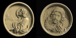 2 Pc 3D STL Model Jesus Prayer for CNC Aspire Artcam 3D Printer Engraver Carving