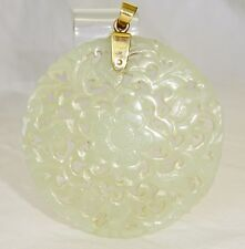 19C Chinese Pierced Well Carved Floral Motif Nephrite Jade Pendant (***)