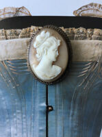 LARGE Antique CAMEO Pendant Silver And Gilt