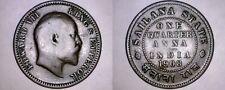 1908 India Princely States Sailana 1/4 Anna World Coin -British Admin Edward VII