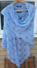 handmade crochet shawl, scarf with sequins - large, blue, Mohair