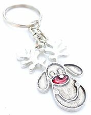 Rudolf Red Nose Christmas Handcrafted From English Pewter Key Ring + Gift Bag