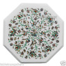 """12"""" White Marble Side Corner Table Top Marquetry Mosaic Inlaid Furniture H2358"""