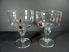 Set of 2 Extra Large 16 oz. Margarita Hand Blown with Watermelon Slices Glasses