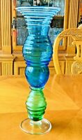 "Art Glass 14 1/4"" Hand Blown Tall Tulip Vase Lime Green & Teal Blue White Swirl"