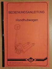 Notice d'instructions et Pièce De Rechange Liste Pour o&k main-Transpalette Orenstein ceinturon
