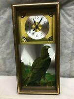 Vintage Mid Century Wood Wall Clock American Eagle Battery Operated