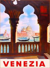 Venezia Venice Italy Vintage Art Italian Europe Travel Advertisement Art Poster
