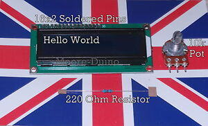 1602 16X2 LCD Display For Arduino + 10k Potentiometer + 220 ohm Res Hello World