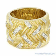 14k Yellow & White Gold Ring 0.36ct Round Diamond Right-Hand Heavy Fashion Band