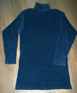 12 Long Tunic Top Blue & Black Stretch Ribbed Velvet 10 - SEE MEASUREMENTS BELOW