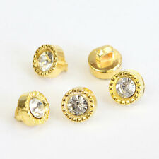 Golden Crystal Glass Rhinestone Plastic Shank Buttons Scrapbooking Sewing 30 Pcs