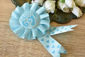 Its a Boy Blue Baby Shower Ribbon Rosette Pin Badge Award Brooch Favors