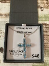 "18"" Sterling Silver Genuine Blue Topaz Necklace With Cross"